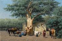 le puits et le vieux sycomore a la place de l'esbekieh au kaire (egypte) by willem de famars testas
