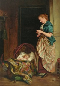 mother and sleeping child by arthur white