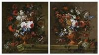 vases de fleurs sur un entablement de pierre (2 works) by gaspar pieter verbruggen the younger