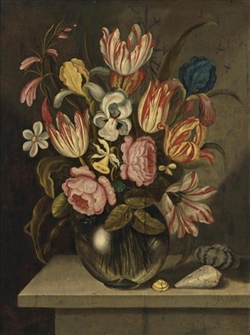 a still life of tulips, roses, irises and daffodils in a glass vase with a caterpillar and three exotic shells on a stone ledge by abraham bosschaert