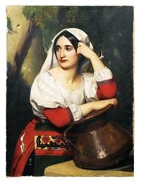 jeune italienne à la fontaine by alexandre-jean-baptiste hesse