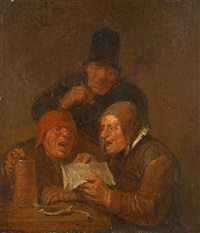 three men in an interior by egbert van heemskerck the elder