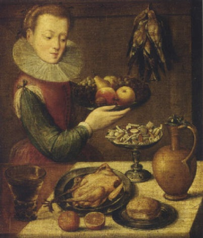 a kitchen maid holding a pewter platter of fruit before a partially draped table with a jug a game bird bread and a roemer of wine by lucas van valkenborch