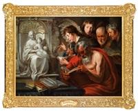 die vier evangelisten an einem altar mit der statue der madonna mit kind by jacob jordaens