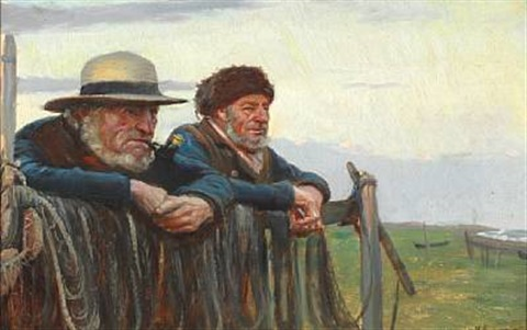 two fishermen looking out over the sea at skagen beach by michael peter ancher