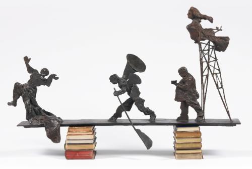 four figures on a bridge by william kentridge