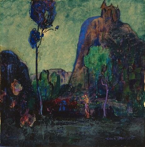 Garden of Allah, nocturnal landscape depicting Russian actress Alla ...