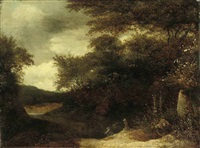 a wooded river landscape with anglers on a bank by guillam dubois