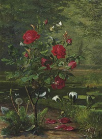 a wren by a rose and waterlillies by danish school (19)