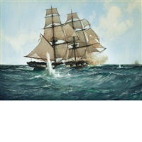 chasing the slaver: her majesty's brig acorn in chase of the piratical slave gabriel, july 6th 1841 by montague dawson
