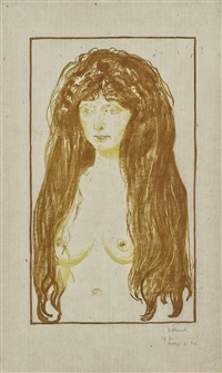 woman with red hair and green eyes. the sin by edvard munch