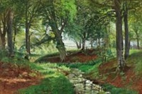 forest scene with stream by thorvald simeon niss