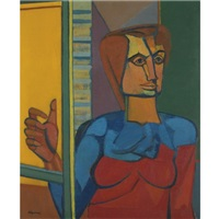woman at a window by robert colquhoun