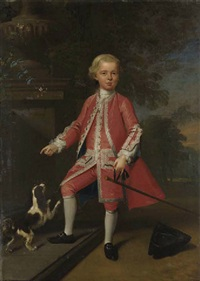 portrait of a boy in a pale silver embroidered coat, waistcoat, and breeches, with a spaniel, a staff in his right hand and a tricorn at his feet by willem verelst