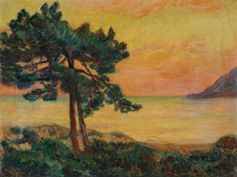 le pin au coucher du soleil by armand guillaumin