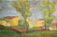 krajobraz z domami by zygmunt tomkiewicz