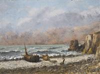 deux bateaux sur la plage by gustave courbet