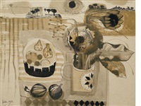 still life with flowers and bowl of fruit by mary fedden