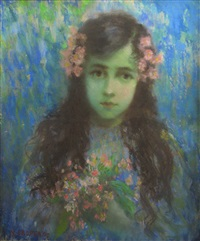 girl with flowers in her hair by nicolae gropeanu