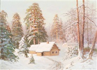 winter landscape by valerian vitalievich babadin