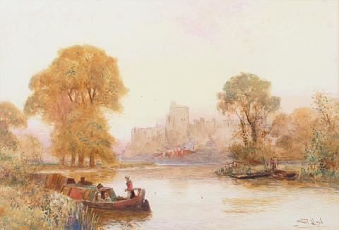 barges on the thames windsor castle beyond by walter stuart lloyd