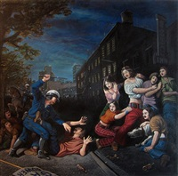 "the provocation (stonewall, 1969) (after ""moise defend les filles de jethro-charles lebrun, 1868, france) by sandow birk"