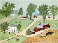 plowing by grandma moses