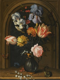 still life of irises, columbines, tulips, roses and lily of the valley in a glass vase flanked by a lizard and a butterfly by balthasar van der ast
