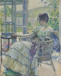 contemplation (woman seated next to birdcage) by richard edward miller