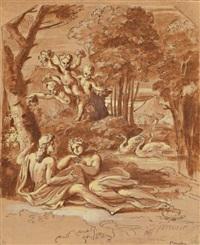 vénus et adonis dans un paysage classique by michel corneille the younger