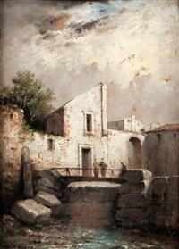 paysages en bord de rivière (+ another; pair) by felix-hippolyte lanoue