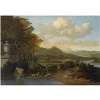 shepherds with their flock watering in a classical landscape by josua de grave