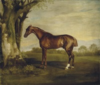 antinoüs, a chestnut racehorse, in a landscape by george stubbs