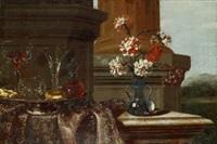 stilleben med blommor och kristall by christian berentz