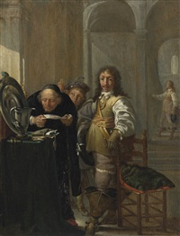 a cavalier selling his goods, with an old man reading a document and a young boy holding a coin by jacob duck