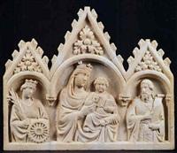 la madonna con il bambino fra i santi caterina d'alessandria e giovanni battista by tino di camaino