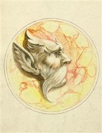 projet de décor: masque grotesque dans un cercle (+ 3 others; 4 works) by gaetano piccini
