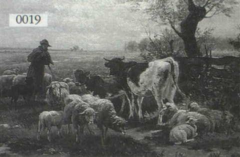 depiction of a shepherd with sheep and cows by thomas e knox