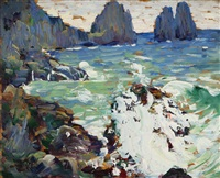 'rocks and sea' coastal with crashing waves on rocks by leon kroll