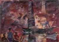 rettungsboote vor brennendem schiff by heinrich emil adametz
