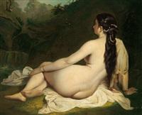 ruhender weiblicher akt in einer landschaft by natale schiavoni