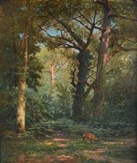 biche et faisans en sous-bois (2 works) by george gassies