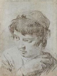 tête de jeune homme (+ le torse d'une académie, verso) by giovanni battista piazzetta