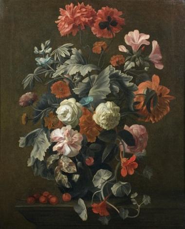 bouquet de fleurs et cerises sur un entablement by simon pietersz verelst