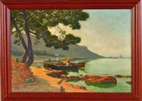 barques dans une calanque en méditerranée by louis-lina bill