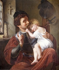 the knight and his child by ferdinand-theodor hildebrandt