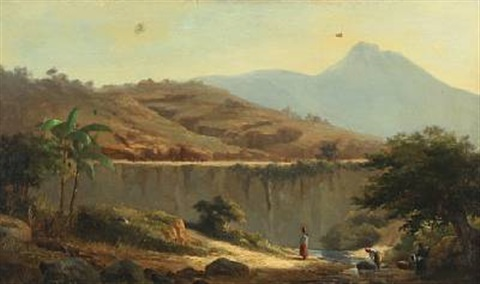 mountainscape with women washing clothes in the river probably marocco by daniel hermann anton melbye