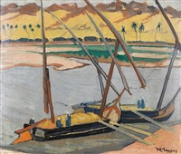boats on the nile by konstantinos maleas