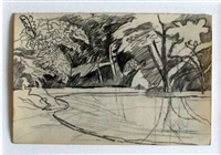 pond and trees by keith vaughan