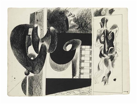 sans titre study for nighttime enigma and nostalgia by arshile gorky